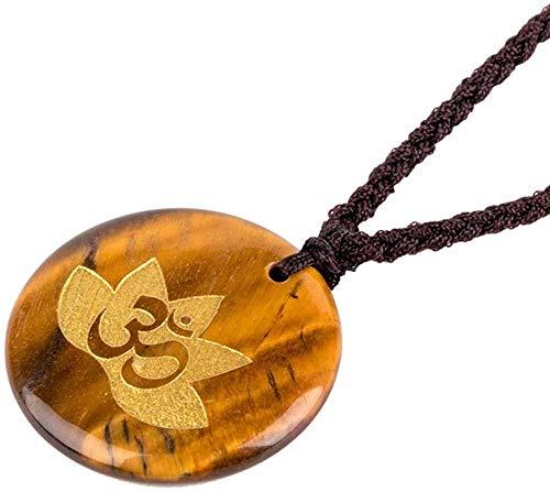 collar mujeres collar hombres chakra collar forma redonda cristal piedra colgante cristales curativos corona collar colgante chakra para mujeres hombres-Ojo de tigre