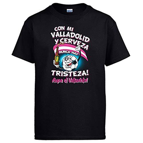 Diver Bebé Camiseta Frase con mi Valladolid y Cerveza Nunca Hay Tristeza para Aficionado al fútbol - Negro, S