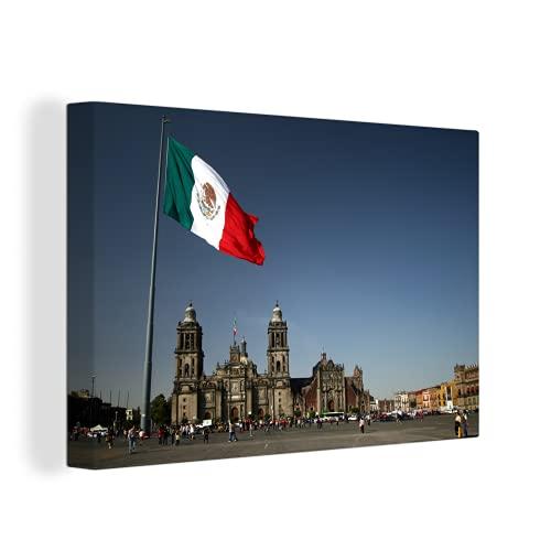 Leinwandbild - Kathedrale von Mexiko-Stadt & die mexikanische Flagge - 90x60 cm