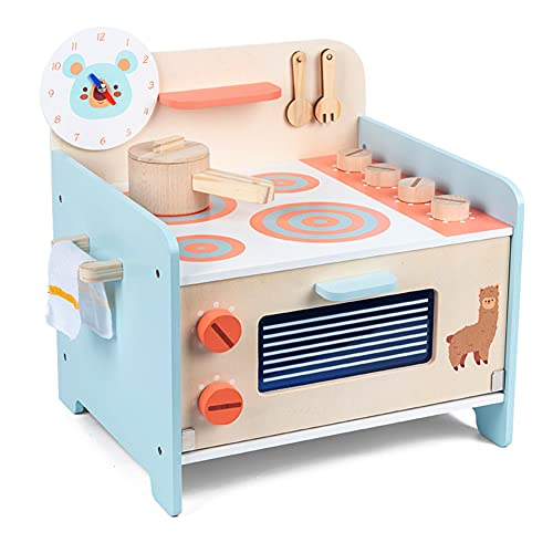 BAYKIM Wooden Kitchen Toy Set Pretend Cooking Playset with Toy Stove, Baking Oven, Pot, Spoon/Spatula, Fork, Turnable Knobs, Spice Shelf, Cleaning Cloth, Gift for Kids Boys Girls