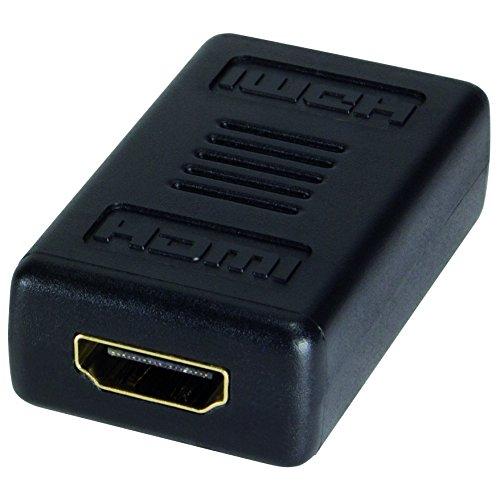 LogiLink AH0006 HDMI High Speed Adapter, flache Ausführung und mit vergoldeten Kontakten, Ideal für Full HD, Buchse auf Buchse schwarz