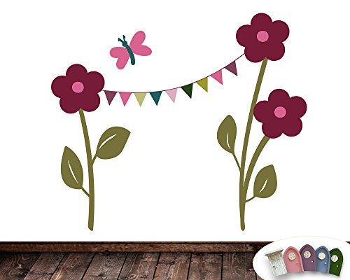 TinyFoxes Wandtattoo Blumenschmuck für die Feen- und Wichteltür - Selbstklebende Folie - In Deutschland produziert
