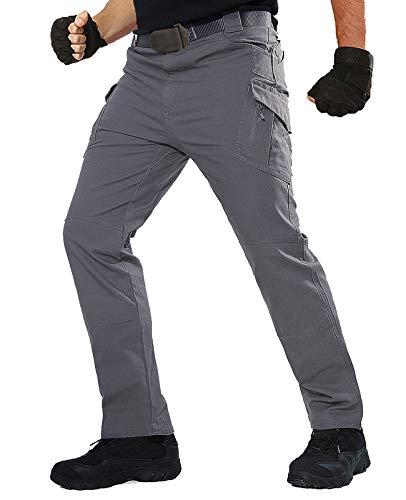 TACT BESUHerren Cargohose Outdoor Militär Tactical Hose Männer Stretch Arbeitshose mit Multi Taschen- Gr. 36 (2XL), Grau