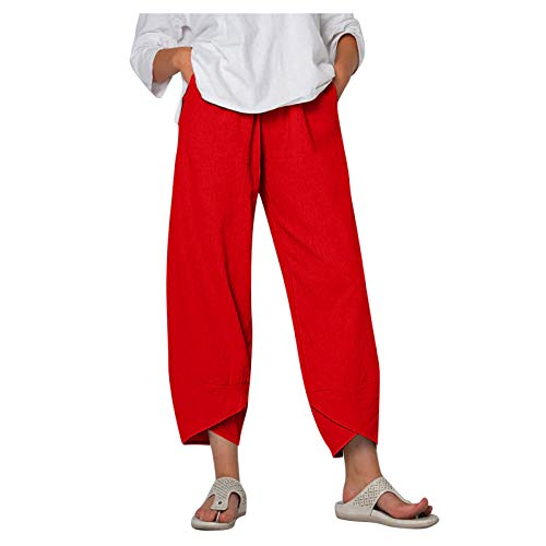 YAOBF Leinenhose wei Bio Leinenhose Damen Leinenhose Dreiviertel Chiffon Hosen Damen dünne Hosen Damen (Rot 2,XXXL)