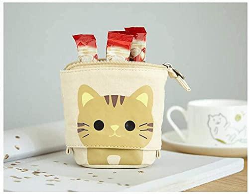 KONGWU 1 estuche retráctil de lona para lápices con diseño de gato con cremallera, para niños y niñas (negro), color marrón
