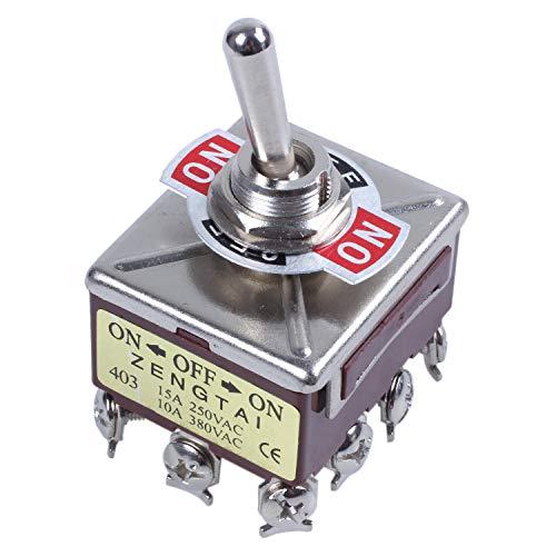 Summerwindy AC 380V 10A encendido/apagado/encendido 3 posiciones 12 pines Interruptor de palanca de enclavamiento 4PDT