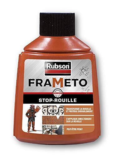 Rubson Frameto Stop-Rouille, Traitement antirouille pour intérieur et extérieur, Convertisseur de rouille à effet immédiat, peut être peint, coloris noir, 90 ml