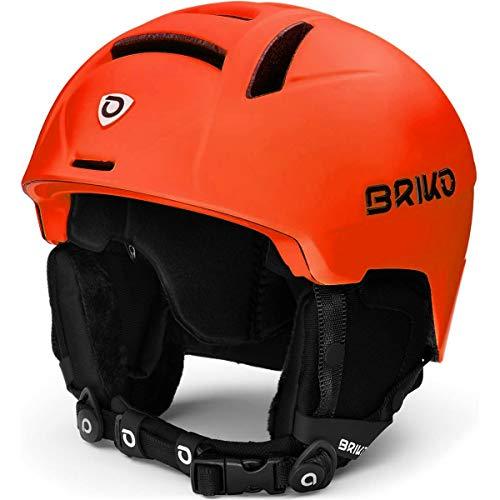 Briko Canyon Casco de esquí Snow, Adultos Unisex, Matt Orange Fluor Black, 56-58 cm