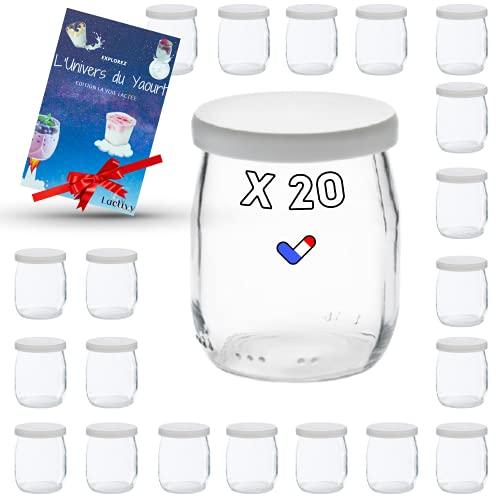 Lactivy | Lot de 20 Pots de yaourt en verre de 142 mL / 125g avec couvercles hermétiques | Fabrication & Marque Française | Compatible avec yaourtières & robots | Ebook de recettes & idées offert !