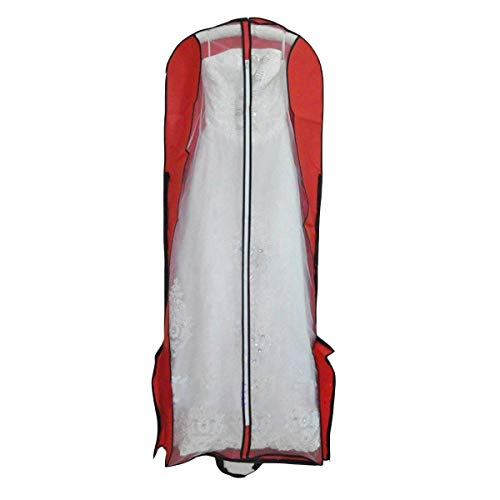 Beilite Wedding Dress Garment Bag Dust Cover Storage Travel Bag Red 70 inches