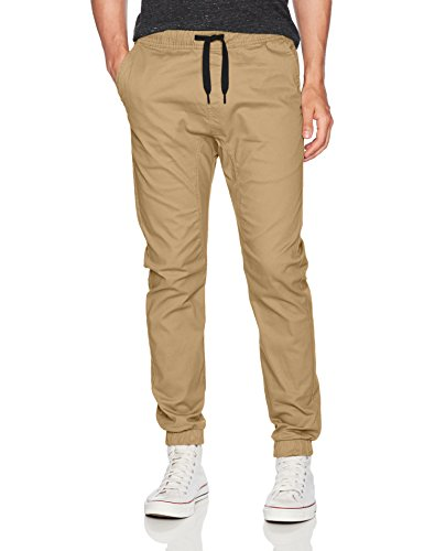WT02 Men's Jogger Pants in Basic Solid Colors and Stretch Twill Fabric, Light Khaki(NEW), X-Large