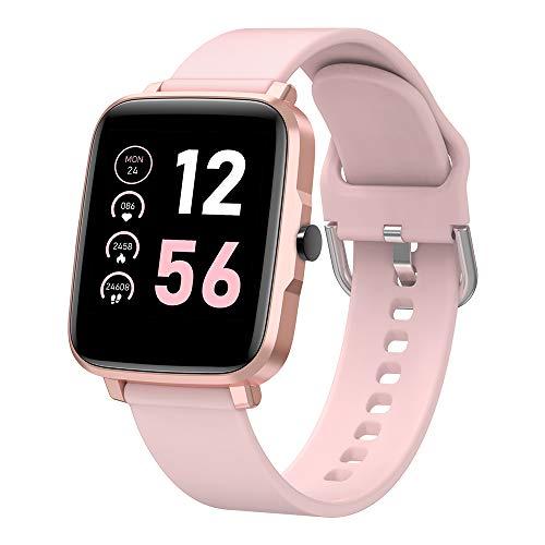 Smartwatch Damen, gandley 1.54 Zoll Sportuhren Damen mit Touch-Farbdisplay Fitnessuhr Damen mit Pulsuhr Schlafmonitor Smart Watch IP67 Wasserdicht Sportuhr Schrittzähler für Android und iOS (rosa)