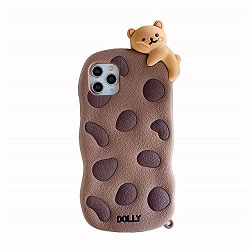 Funda para teléfono 3D Cute Cartoon Chocolate Cookie Bear Doll para iPhone 12 Mini 11 Pro XS MAX X XR 7 8 Plus Biscuit Funda de Silicona Suave, Solo Cubierta, para 11 Pro MAX