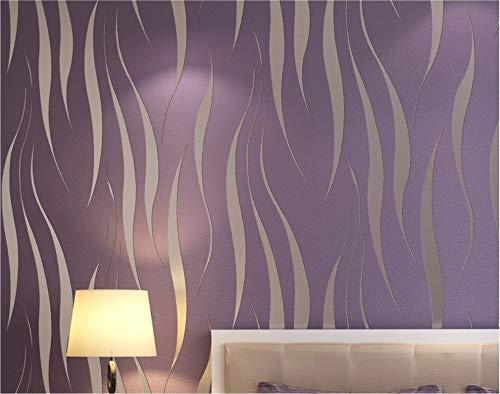 Tapete einfache moderne 3D geprägte Welle Vliestapete Wohnzimmer Schlafzimmer TV Hintergrundwand, 0.53m X 10m, lila