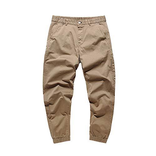 Pantalones de Cintura elástica para Hombre con botón y Tapeta con Cremallera Pies de Haz de Color sólido Pantalones Cargo Regulares de Moda 29