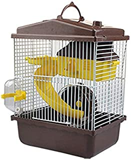 INFILM Hamster Pet Travel Cage, Multilevel Small Animal Habitat with Tunnels Toys, Portable Carrier for Hamster Golden Hamster Pet, Brown