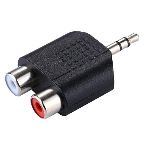 Movoja Klinke 3,5mm zu 2X Cinch Y Adapter | Ohne zusätzliche Kabel | Plug & Play | Metall-Stecker/vergoldet | AUX Eingänge Audio 3,5mm Klinken Stecker zu 2X Cinch/RCA Stecker | doppelte Schirmung