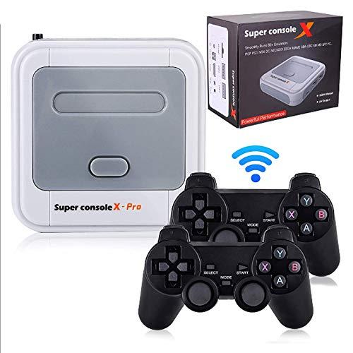 ALLWIN Consola De Videojuegos Super Console X Pro, Consola De Juegos Retro para PS1 / N64 / DC,con 2 Gamepads,Más 50000 Juegos Integrados,Consola Videojuegos TV WiFi Compatible con HDMI 4K,64G