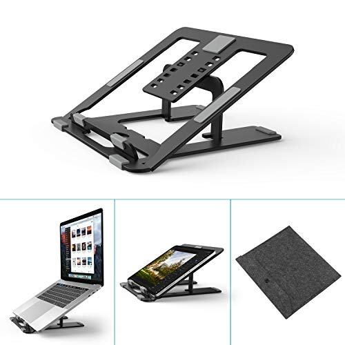 Foldable Laptop Stand Holder, Klearlook 7-Adjustable Height Portable Ventilated Desktop Laptop Riser with Carry Bag,Ergonomic Aluminum Tray Mount for iM'ac/Laptop/Notebook Computer/Tablet-Carbon Black