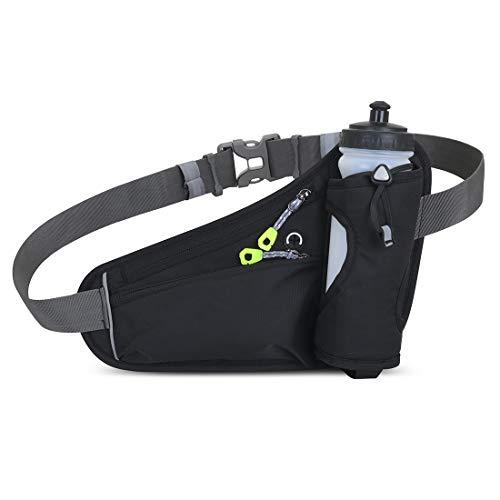 LeQeZe Marsupio Sportivo Cintura da Corsa Running Impermeabile con Cintura – Compatibile con iPhone, Samsung. Unisex (Nero)
