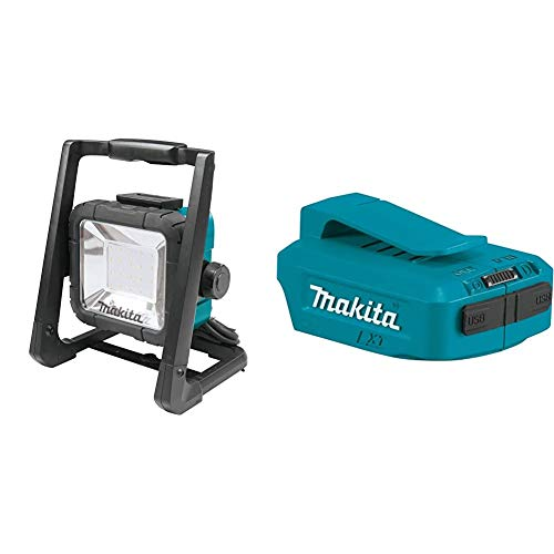 Makita DML805 14.4/18 V Corded and Cordless LED Work Light - Blue/Black & DEBADPP05 14.4 - 18 V Li-Ion USB Adapter - Blue