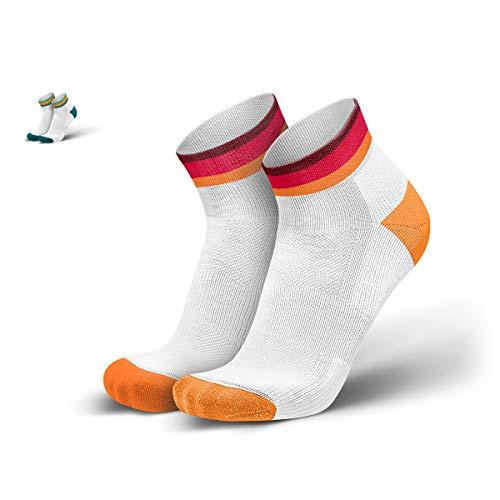 INCYLENCE Layers kurze, gepolsterte Laufsocken, leichte Socken, atmungsaktive Running-Socks mit Kompressionseinsatz & Anti-Blasen Schutz, unisex, orange, rot, 43-46