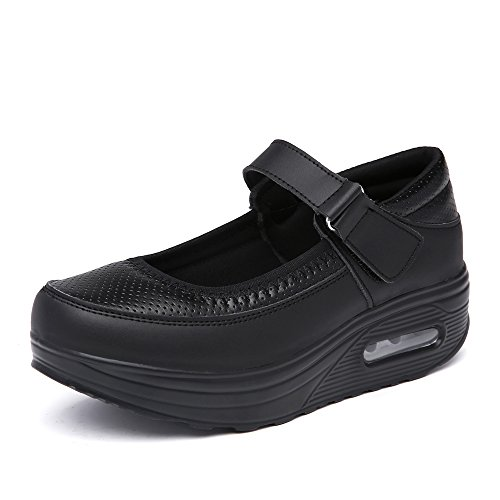 EnllerviiD Women Breathable Mary Jane Shoes Buckle Casual Walking Slip On Sneakers Black pm9B(M) US