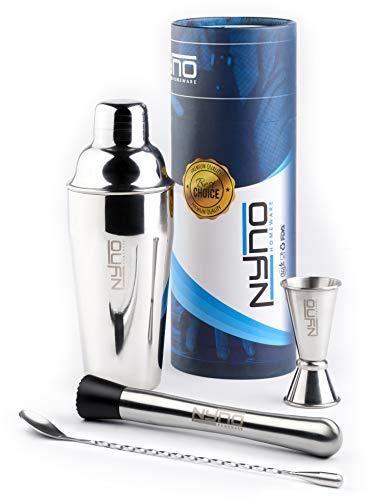 Nyno-Homeware 4-teiliges Cocktail Shaker Set hochwertigem Edelstahl - Shaker mit eingebautem Sieb, Löffel, Barstößel, Messbecher und Rezept-Ebook - Für privaten und professionellen Gebrauch geeignet