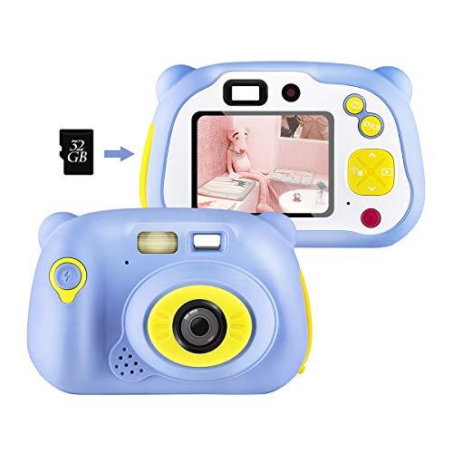 shumeifang Cámara Digital para Niños con 32GB Tarjeta TF & Acollador, 2 Objetivos Selfie 12 MP 2720P HD Video Cámaras, 2.0 Pulgada LCD Pantalla a Color, Carcasa de Silicona, Azul