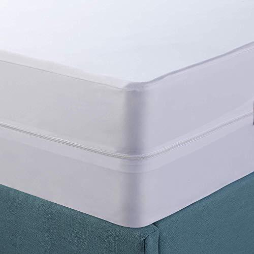 LIUJYAO Protector Colchon,Cubre Colchón Impermeable Y Transpirable,Protector De Colchón con Cremallera para Colchones De 30 Cm De Alto,White-180X200+30cm