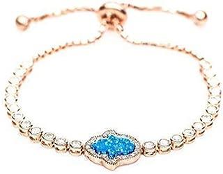 Opal Hamsa Rose Gold Bracelet For Women