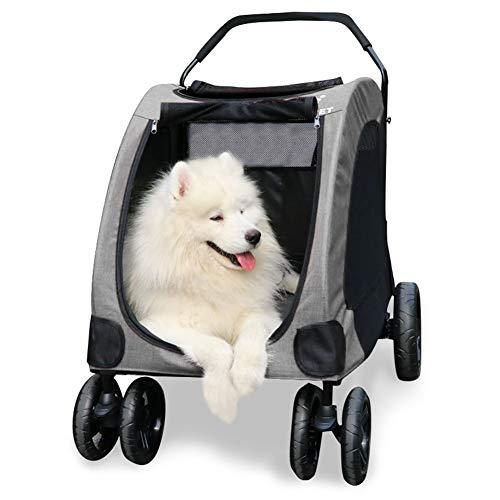 GPR ペットカート 犬用ベビーカー 犬 カート 猫 バギー 大型犬 多頭中小型犬・猫 3色 四輪 多頭用 介護用 多機能 軽量 折りたたみ 組み立て簡単 耐荷重60Kg (グレー)