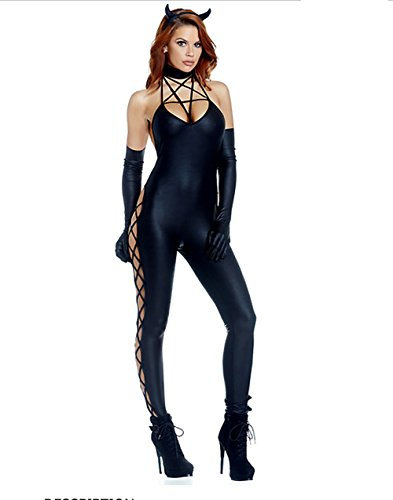 CDSS Halloween Sexy Femme Batman Costume Cosplay Fun Jeu Uniforme Catsuit Humide Regarder vêtements de discothèque Latex Noir, Black, XL