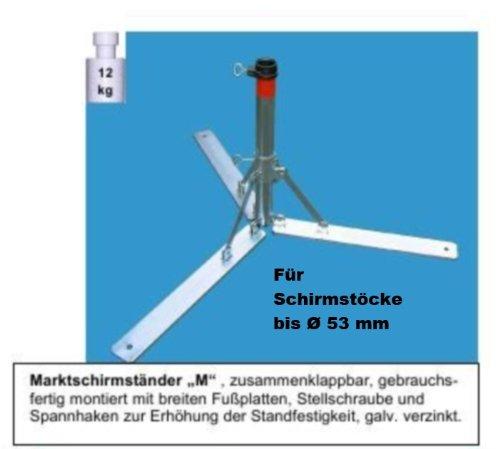 Wieder lieferbar ab Wochen 27 - 2019 - Sonnenschirmständer - aus 4 mm Ø DEUTSCHEM STAHL - DER STABIELO ® - KLAPPBARE SCHIRM - METALLSTÄNDER für SCHIRMSTÖCKE BIS Ø 53 mm - SONNENSCHIRMSTÄNDER - SCHIRMHALTER - MADE in GERMANY - M 53 - mit breiten Fußplatten HOLLY PRODUKTE STABIELO ® - PRODUKTE MADE in BADEN WÜRTTEMBERG -
