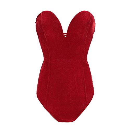 Women Strapless Deep Plunge Bodysuit Shapewear Clubwear Sexy Red M