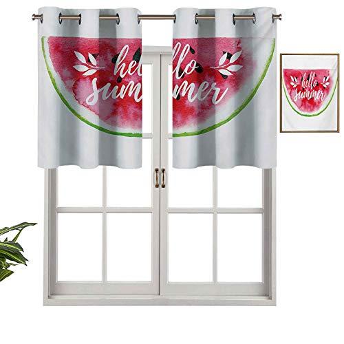 Hiiiman Panel de cortina de bloqueo UV, figura de sandía de acuarela con impresión de impresión de Hello Summer Motivation, juego de 2, 54 x 24 pulgadas para habitación de niños