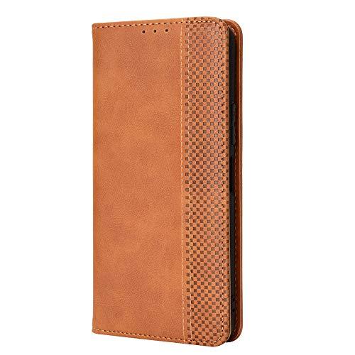 WEIOU Funda para ASUS ROG Phone 5 Funda Libro, Flip Carcasa Magnética con Soporte y Cartera para Tarjetas, Premium PU/TPU Cuero Case Cover Billetera. Marrón