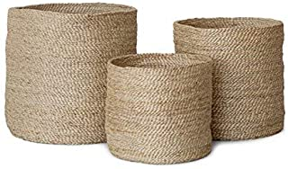 Printshoppie Handcrafted Woven Round Floral Pots Bag Natural Jute & Cotton Plant Bag Pot Bags for All Plants Home Room Hall Decor Indoor Outdoor Plant Sack (Multi)