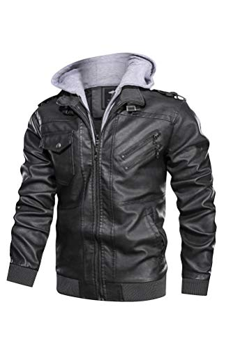 Minibee Men's Faux Leather Jacket Zip-Up Vintage Stand Collar Motorcycle PU Leather Outwear Coat with Removable Hood Gray