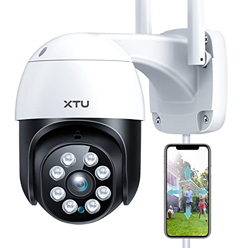 Security Camera Outdoor/Indoor, XTU 1080P WiFi Home Security PTZ Camera, 360°View Surveillance IP Camera with Night Vision, Motion Tracking, IP66 Waterproof, 2-Way Audio, Works with Alexa(Wired)