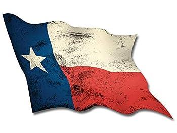 Large Waving Vintage Texas Flag Sticker  tx Texan Distressed Old Big