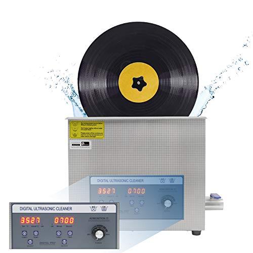 Digitale Schallplatten Reinigungsmaschine/6L Ultraschallreiniger aus Edelstahl/40000Hz 70-180W Leistung Einstellbar/0-30 Min Zeitschaltuhr&Temperaturregelung/Automatische Drehung mit Hebebühne