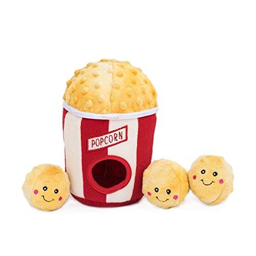 ZippyPaws - Food Buddies Burrow, Interactive Squeaky Hide and Seek Plush Dog Toy - Popcorn Bucket