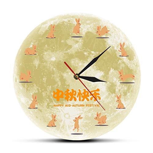 yage Feliz Festival de Mediados de otoño Reloj de Pared Decorativo de Vacaciones Chinas Luna mística con Silueta de Conejo Reloj Redondo Reloj de Pared