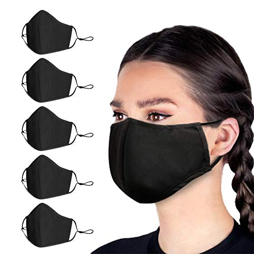 5 Pcs/Pack of Black Masks, Breathable and Reusable Cloth Face Mask, Adjustable Ear Straps,...