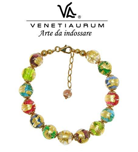 Venetiaurum - Damen-Armband mit Perlen aus Original-Muranoglas und Silber 925 - zertifiziert als