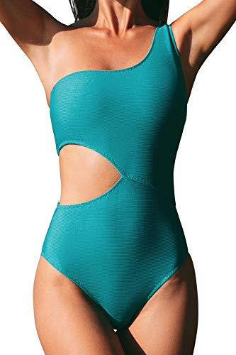 CUPSHE Women's One Piece Swimsuit One Shoulder Cut Out Ribbed Swimwear Bathing Suits Green M