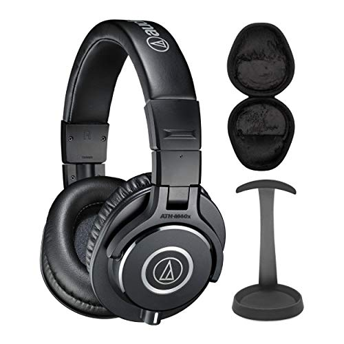 Audio-Technica ATH-M40X Professional Headphones Bundle with Knox Gear Aluminum Stand and Hard Shell Case Bundle (3 Items)
