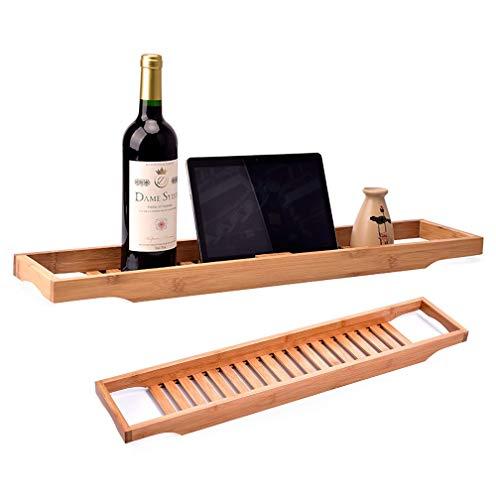 LOHOX Bamboe Badlade Caddy Badkuip Caddy Houten Badkamer Rek Over De Tub Opslaglade met Rails voor Wijn Glas Telefoon Tablet Houder en Boek Stand-Natuurlijke Bruin