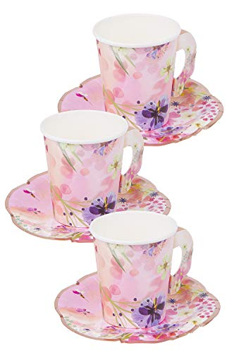 Talking Tables Blossom Party Paper Tea Cups, Pack of 12, Height 8cm, 3